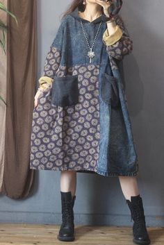 Hooded denim dress, womens dresses, midi dresses, Vintage cotton dress, Oversized dress