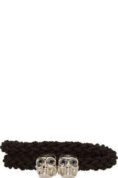 Alexander Mcqueen: Black Braided Leather Skull Bracelet