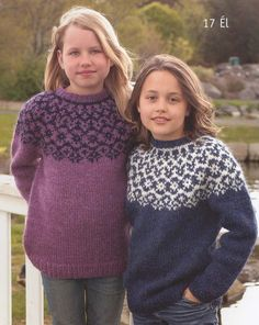 Vedis Jonsdottir for Istex - Iceland 2007. Book 27-17 El (ages 8 - 14)WEB EXCLUSIVE. Two charming garments, with traditional round construction and a yoke treatment that is both classic and fresh. They're made by knitting two strands of the Plotulopi together-- that's the airy unspun Icelandic wool that comes in big wheels (or 'cheeses' or 'plates').
