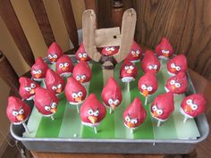 My son requested Angry Bird Cake Pops for his birthday treat for school.  This was my attempt.  I was inspired by some more professional looking ones on the web.  He was happy and that's what counts.