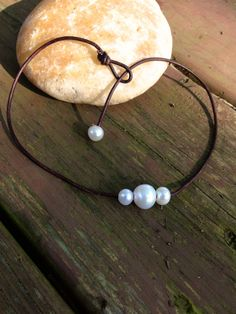 Pearl Leather Necklace 3 Freshwater Pearls by TurquoiseandPearlss, $30.00