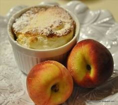 Peach Souffle; Practically fat free heavenly dessert! Less than 50 calories, low sodium, less than 1 gram of fat, and even has protein!! PLUS, it takes less than an hour to make!