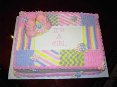 Buttercream Baby Shower Cake - Quilt Design with Pink White Chocolate Booties.