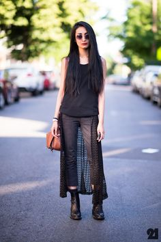 cut front panel off long sheer (cheap) skirt, attach to a string & tie around waist ___  Le 21ème | Nadia Sarwar | New York City