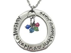 Circle of Love necklace with names and birthstones