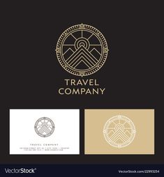 Travel company logo mountains peaks sun vector image on VectorStock Compass Circle, Compass Logo, Travel Agency Logo, Travel Logo, Luxury Business Cards, Business Card Logo, Typography Logo, Logos, Journey Logo
