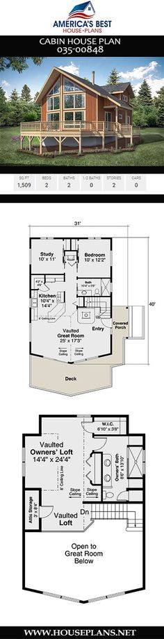 Cabin House Plan Enjoy the good ol' outdoors in Plan a Cabin home design with sq. Cabin House Plans, Best House Plans, Cosy House, Floor Framing, Construction Drawings, Cabin Homes, Best Sites, Open Concept, Square Feet