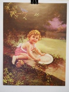 """Adelaide Hiebel """"The Bluebird Is Home Again"""" Lithograph 80's Print Uncirculated on eBay!"""