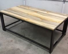 """ONE DOLLAR SHIPPING!! - Industrial Cocktail Table - 42"""" x 24"""" x 18"""" - Blackened Steel with clear Powder Coat & Beetle Kill Pine Detail"""