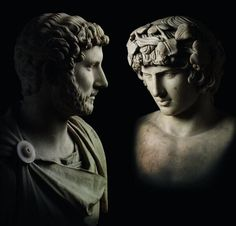 marble bust of the Roman emperor Hadrian and portrait head from a statue of his lover Antinous