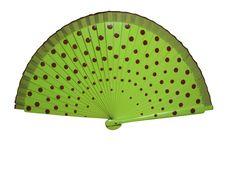 Abanico de madera pintado a mano (dos caras). Medida: 21 cm. Color: Verde pistacho.