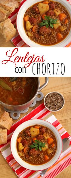 Lentejas con chorizo, Lentis with chorizo. Tapas, Mexican Food Recipes, Soup Recipes, Cooking Recipes, Chorizo Recipes, Boricua Recipes, Chilean Recipes, Healthy Recepies, Spanish Dishes