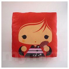 Decorative Pillow, Mini Pillow, Throw Pillow, Kawaii Toy Pillow, Stuffed Doll - Red Kokeshi Geisha