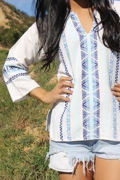 Small Ethnic Beauty Guatemalan Vintage Hand Woven Cotton Folk Art Shirt 1970s. $42.00, via Etsy.