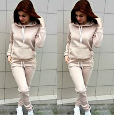 Brand New Women Tracksuit Long Sleeve Sporty Outfits, Fall Outfits, Fashion Outfits, Fashion Sets, Women's Fashion, Embroidered Denim Shirt, Sweatshirt Dress, Long Tops, Comfortable Outfits
