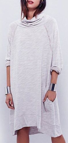 heather grey jersey dress - want the bracelets too!