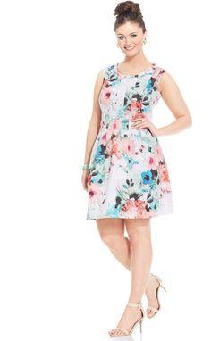 Modamix Plus Size Printed Scuba Dress