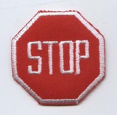 Iron On Embroidered Applique Patch Childrens Red and White Stop Sign