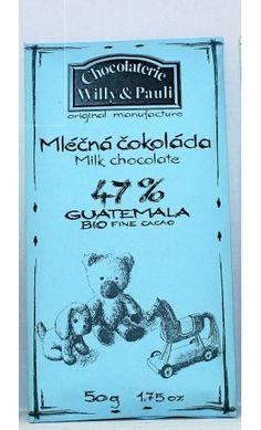 BIO Mléčná čokoláda Guatemala 47%. Využijte naší dopravy zdarma při nákupu  nad 890 Kč nebo výdejního místa v Praze zdarma. Chocolate, Schokolade, Chocolates