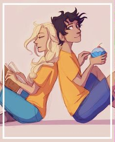 Annabeth reading a book to Percy while he eats his blue cupcake :P
