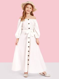 To find out about the Girls Off Shoulder Button Front Belted Maxi Dress at SHEIN, part of our latest Girls Dresses ready to shop online today! Girls Fashion Clothes, Kids Outfits Girls, Cute Girl Outfits, Teen Fashion Outfits, Tween Fashion, Fashion Dresses, Girls Maxi Dresses, Little Girl Dresses, Dress Girl