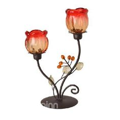 $ 14.69 New Arrival European Style Vintage Rose Wrought Iron Candle Holder www.beddinginn.com