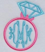 """Wedding Monogram Ring Embroidery Designs. Font not included. We used our Royal Circle on this sample. You get 4 sizes! Works with our 1"""", 2"""", 3"""", 4"""" circle font sets."""