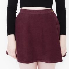 """AA maroon corduroy circle skirt size S A high-waist full mini skirt in structured Corduroy. Rigid Corduroy (100% cotton). Small is approximately 14 3/4"""" in length. Metal zipper and button. Very flattering! In good condition, little wear from washing but nothing unattractive. Size small. Best for a 25 inch waist American Apparel Skirts Circle & Skater"""