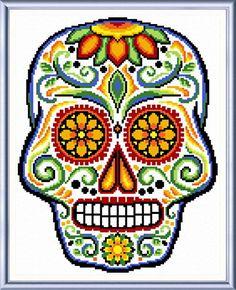 Sugar Skull cross stitch pattern designed by Ursula Michael.