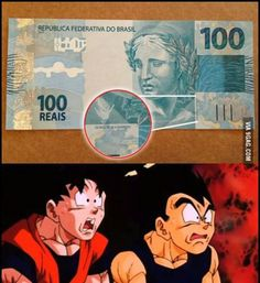 """Brazilian Money - 100 real bill with the words """"Goku be Praised,"""" instead of """"God be Praised"""""""