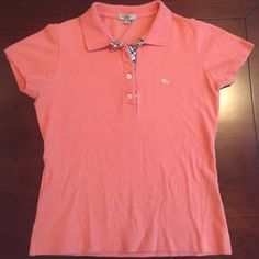 Burberry London polo shirt Burberry London polo shirt; short sleeve; sherbet orange; women's size Small; excellent condition with no stains or fading Burberry Tops Tees - Short Sleeve