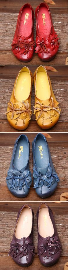 US$26.57 Socofy Flower Tassel Soft Leather Slip On Flat Casual Vintage Shoes