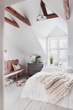 Bedroom complete design scandinavian white color, floor in white floors