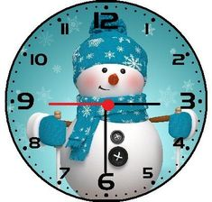 Snowman Christmas Wall Clock - cool winter wall art decor Blue Wall Clocks, Blue Wall Decor, Unique Wall Clocks, Blue Home Decor, Wall Art Decor, Christmas Clock, Christmas Snowman, Christmas Trivia, Blue Throw Pillows