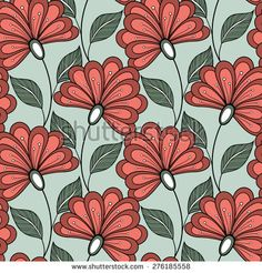 Seamless Floral Pattern (Vector). Hand Drawn Floral Texture, Decorative Flowers, Coloring Book