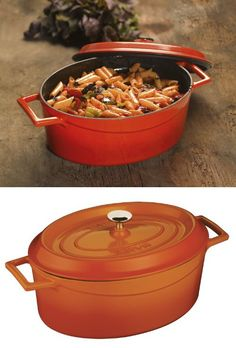 Lava Signature Enameled Cast-Iron Oval Dutch Oven - 4-1/4 Quart, Orange Spice