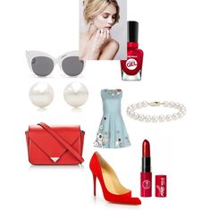 Untitled #304 by sarahepburn28 on Polyvore featuring polyvore fashion style RED Valentino Christian Louboutin Alexander Wang Blue Nile Tiffany & Co. Blanc & Eclare Sally Hansen