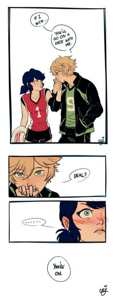 Adrien being flirty~ (Miraculous Ladybug, Marinette, Vollyball AU, Adrinette)