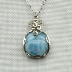 Larimar  - Necklace - Pendant - Jewelry - Wire Wrapped - Sterling Silver