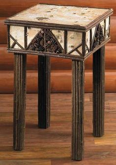 "26"" Rustic Birch Bark Twig Log Pinecone Table Adirondack Decor Bedside Stand NEW"