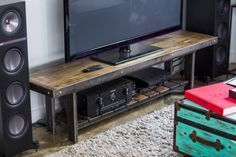 TELEVISION STAND Living Room, Industrial Chic Television Stand, Table, Reclaimed Bowling Alley, Recycled Steel, Flat Screen lcd tv Stand