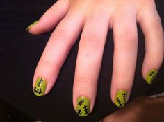 Frankenstein nail designs for Halloween