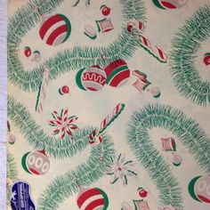 Vintage Christmas paper 1940s Christmas wrapping by FiveOaksFarms