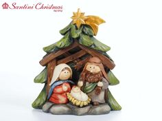Nativity Set from Santini Christmas Nativity Ornaments, Christmas Nativity Scene, Clay Ornaments, Christmas Time, Christmas Crafts, Christmas Ornaments, Nativity Sets, Christmas Wedding Themes, Polymer Clay Christmas