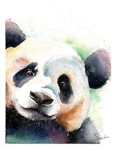 PANDA BEAR PAINTING  watercolor panda original by SignedSweet