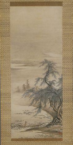 Zhou Maoshu Admiring Lotuses, 15th century. Kano Masanobu, Japanese, 1434–1530. Ink and color on paper, hanging scroll, 33 1/4 × 13 inches. Kyushu National Museum, Dazaifu. National Treasure.
