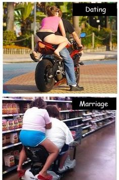 Dating vs. marriage marriage humor, relationship me Dating Humor, Funny Dating Quotes, Marriage Humor, Relationship Memes, Marriage Vows, Jokes Quotes, Funny Jokes, Hilarious, Fun Funny