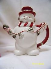 Jolly  Snowman Teapot w/ Candy-Cane Scarf  and Silver Bells MIB