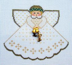 Painted Pony Wedding Angel with Charms handpainted Needlepoint Canvas Ornament