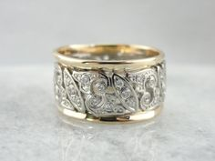 Exquisite Mid Century Wedding Band in White Gold Filigree, Paved with from marketsquarejewelers on Ruby Lane